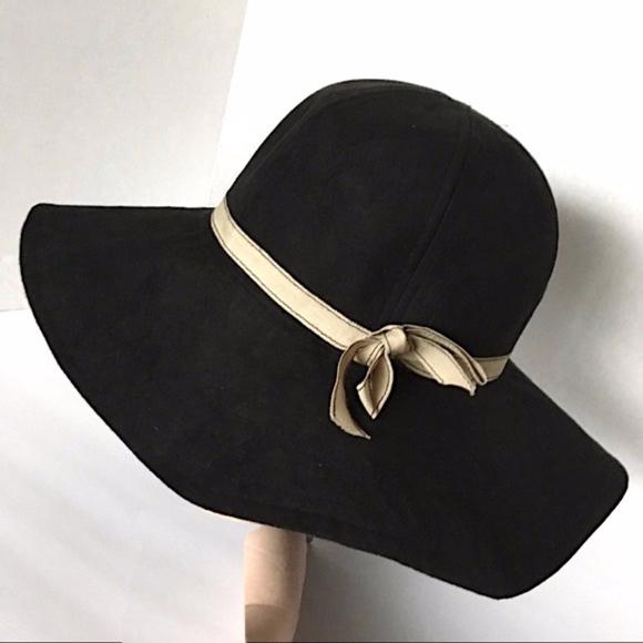 28cd86f3f39 Boutique Accessories   Floppy Black Wide Brim Sun Hat W Beige Ribbon ...